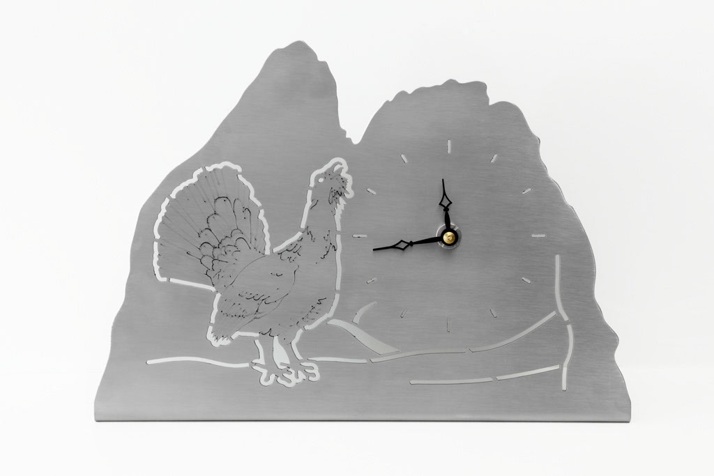 Möbeluhr Auerhahn -  Orologio da tavolo gallo cedrone   Maße -  misure:  4,5x 28,5 x 20,0 cm,€ 72,00