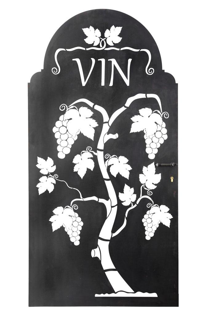 Weinkellertür in Stahlbelch -   Porta per cantina vino in lamiera nera   Maße -  misure : 188,0 x 95,5 x 4,2 cm, € 1100,00