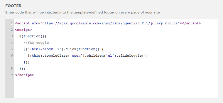 footer code injection