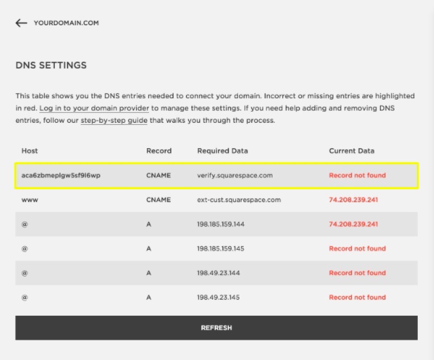Squarespace CNAME DNS Settings
