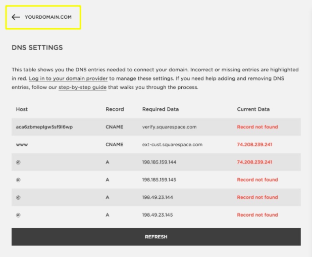 Squarespace DNS Settings