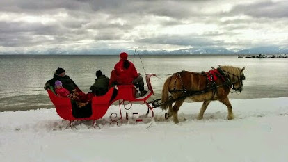 winter sleigh ride at Sand Harbor State Park, Nevada