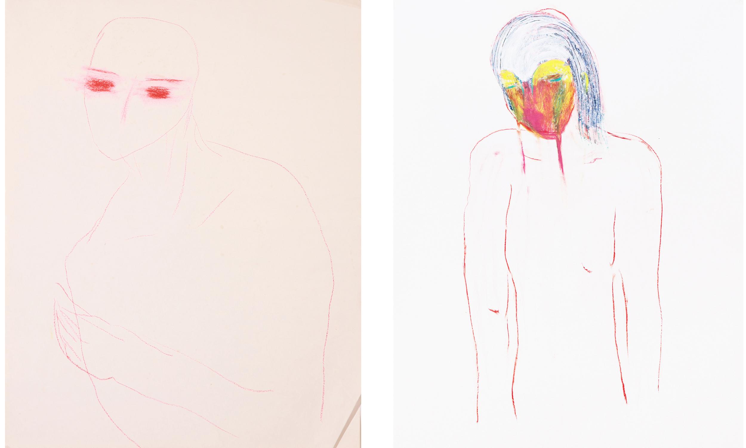 Left, right :oil pastel on paper 100x70 cm/ 2015
