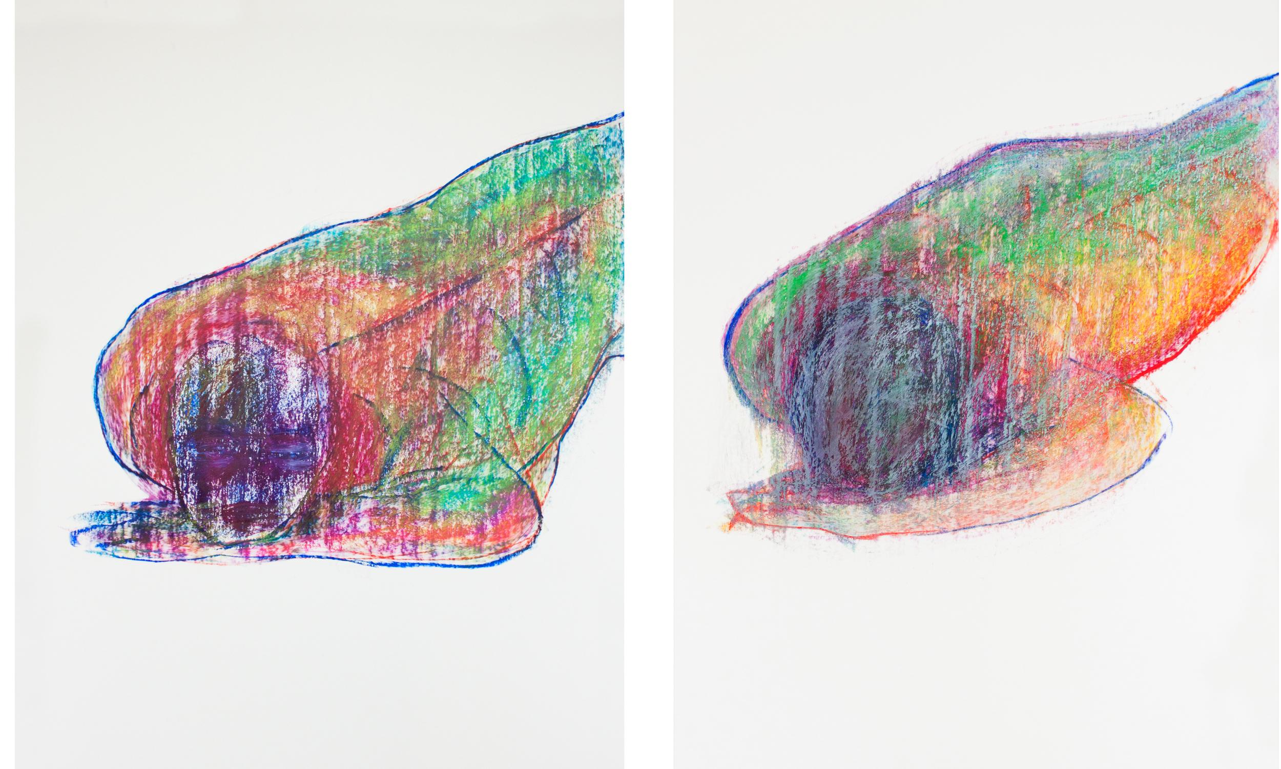 Left, right : oil pastel on paper / 100 x 70 cm / 2016