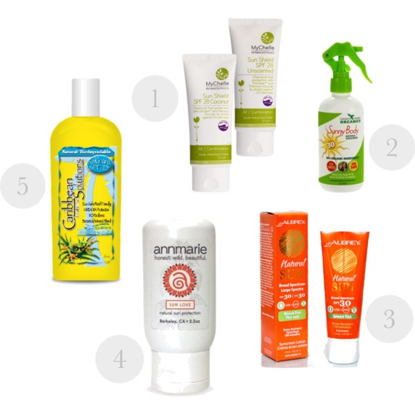 1.   MyChelle Dermaceuticals  SunShield-Coconut SPF 28  2.   Goddess Garden Organics  Natural Sunscreen Spray SPF30  3.   Aubrey Organics  Natural Sun SPF 30  4.   Anne Marie Gianni Sun  Love - Natural Sun Protection  5.   Caribbean Solutions  SolGuard SPF 25