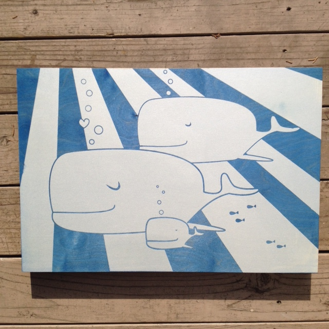 Whale Family - 21x15 - $110