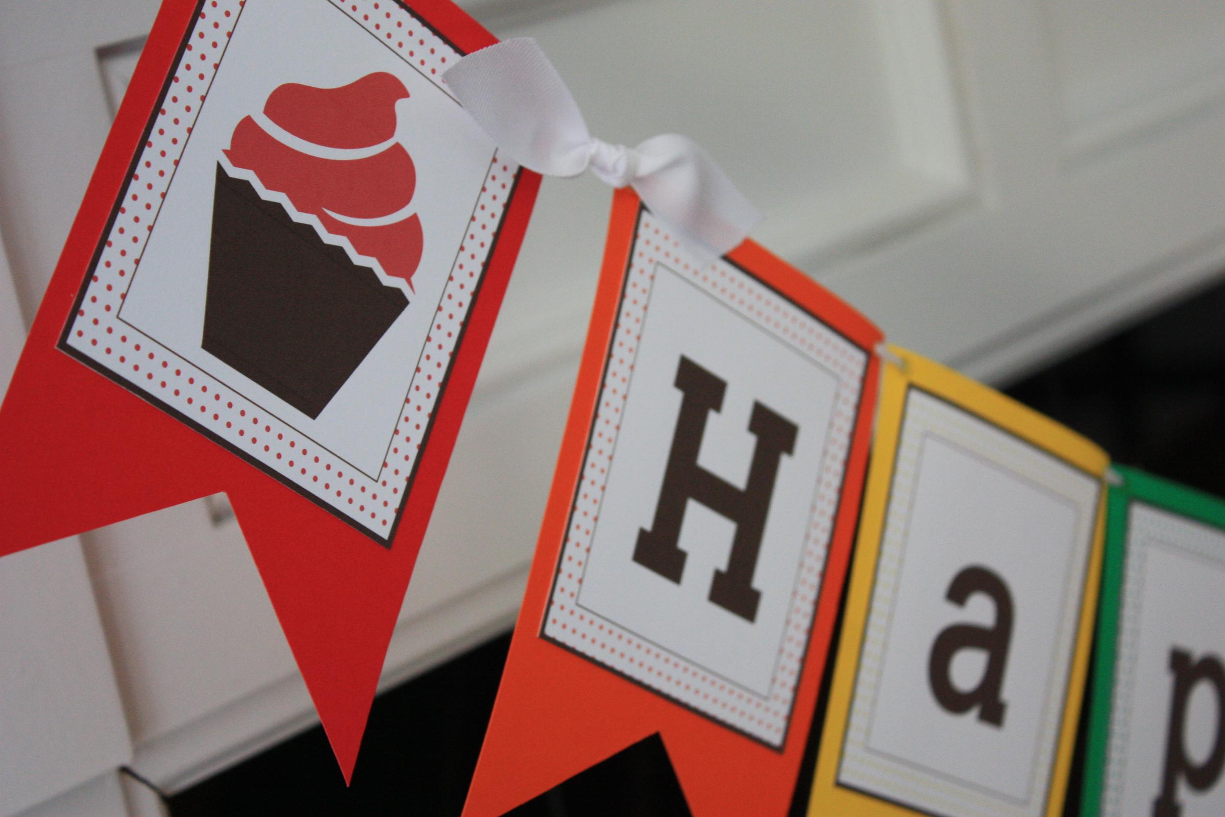 Polka Dot & Cupcake Theme Happy Birthday Banner