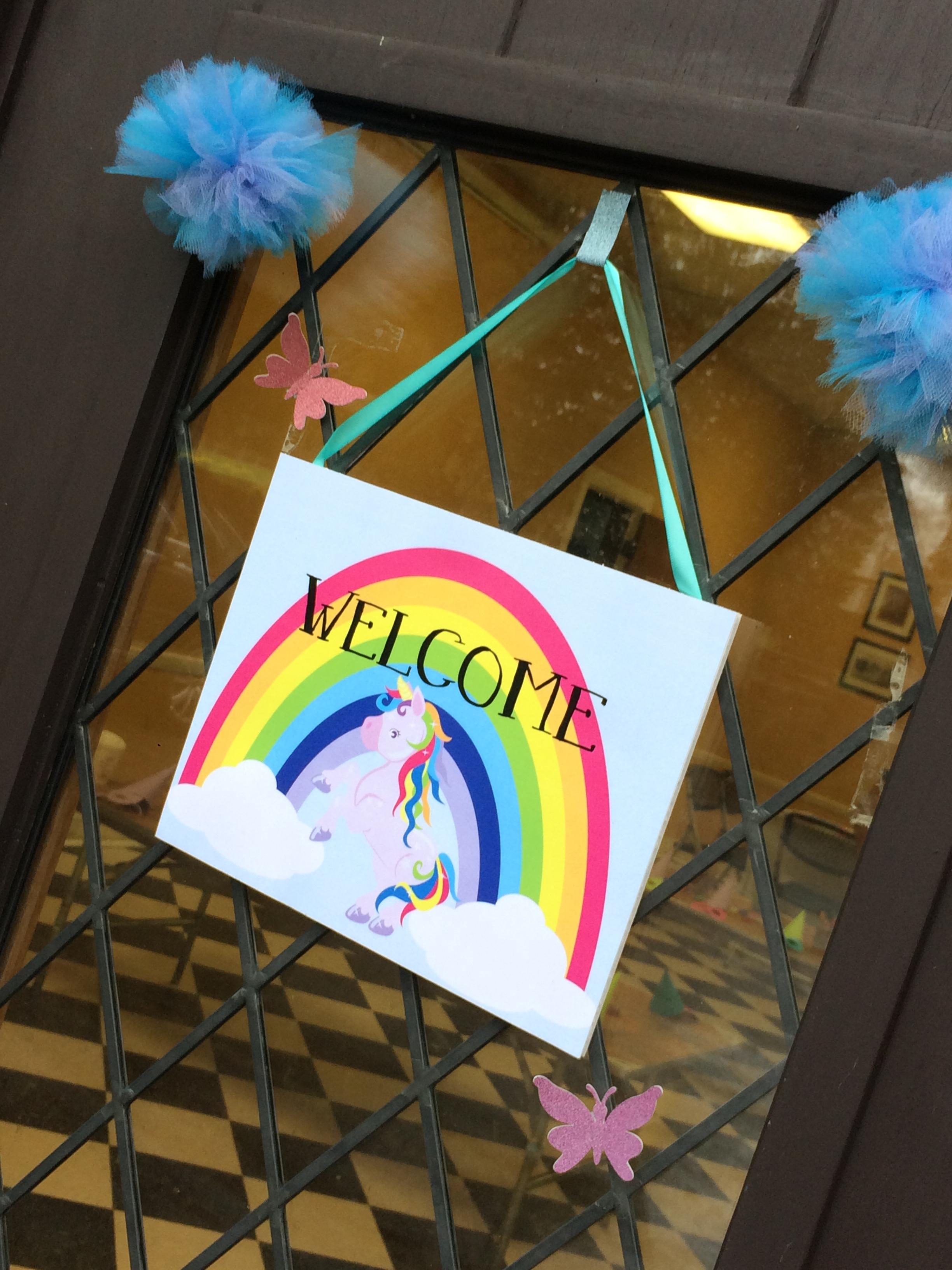 Rainbow Unicorn Welcome Sign