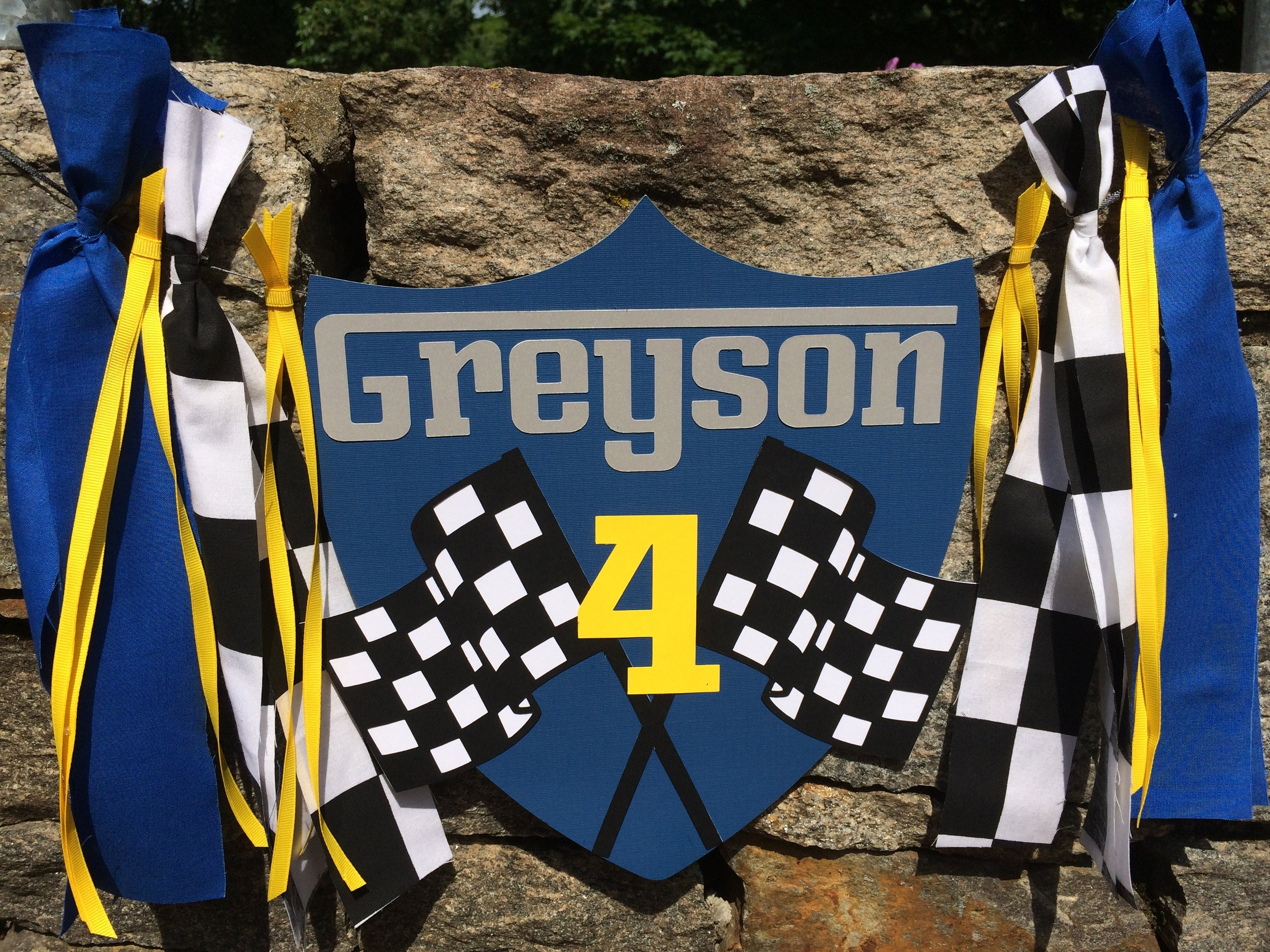 Race Car Party Namer Banner