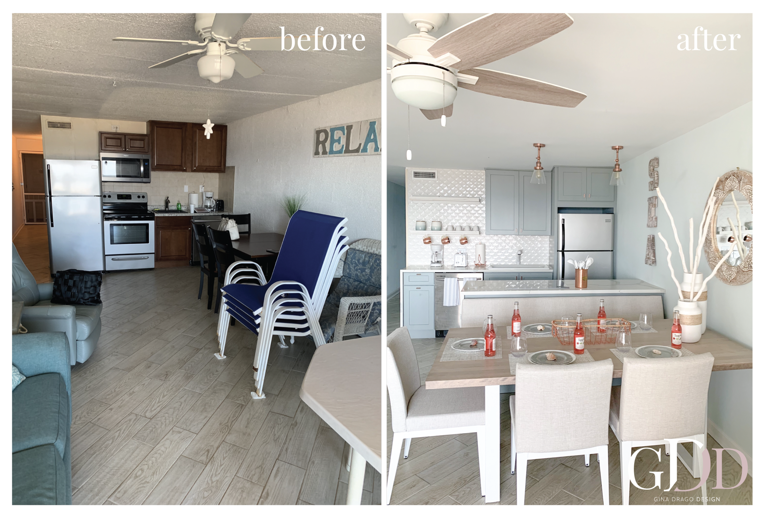Kitchen, Dining,Living Design - Mermaid Haven Oceanfront Condo
