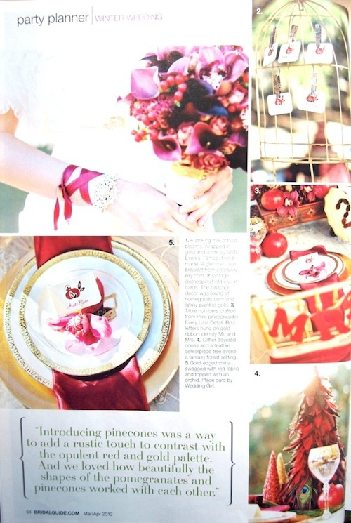 "Edera Jewelry's ""Aiglentine "" Bracelet (upper left) featured in an editorial shoot in Bridal Guide Magazine."