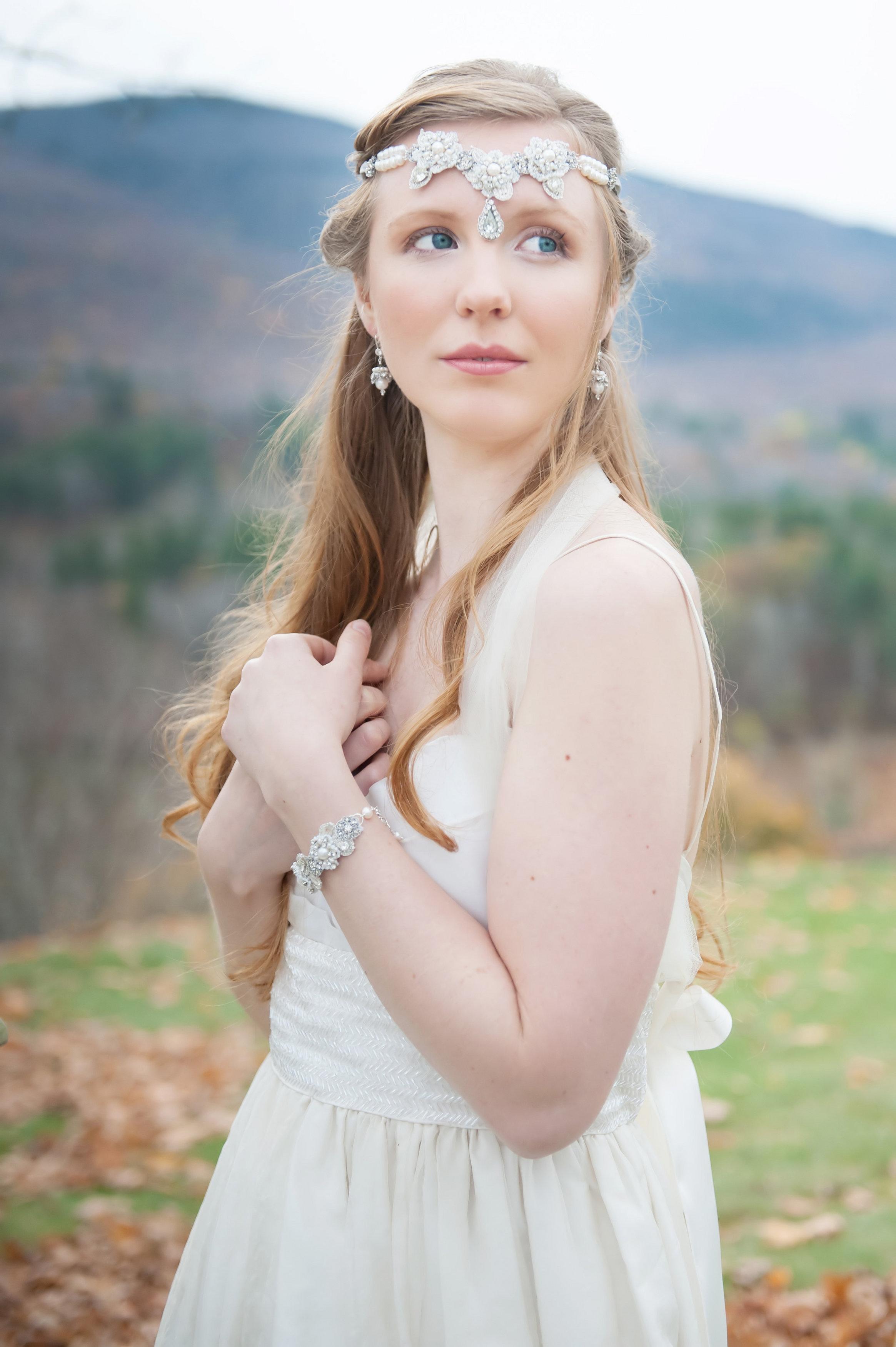 Sonnet Headpiece & Bracelet, Elspeth Earrings