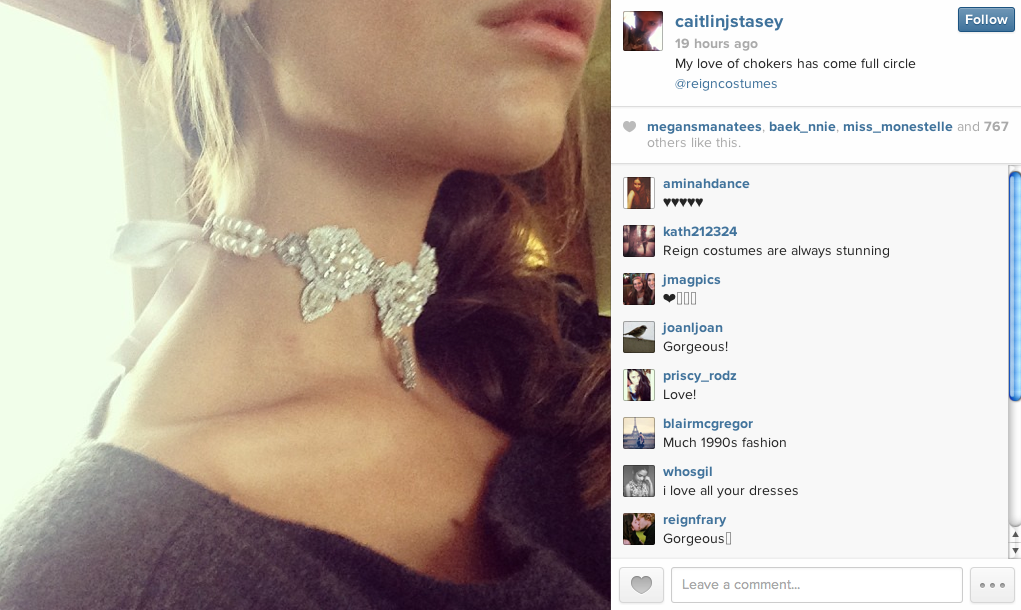 "Actress Caitlin Stasey of  Reign  wearing an Edera Jewelry ""Sonnet"" necklace."