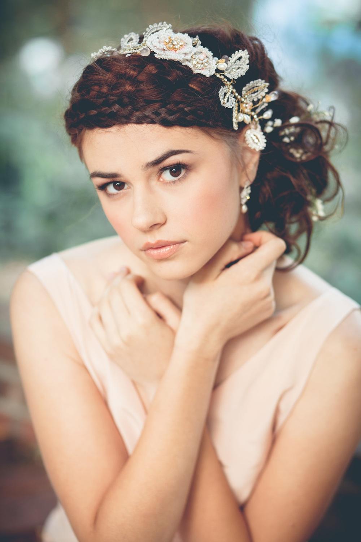 Aphrodite Rose Hair Vine & Dia Earrings