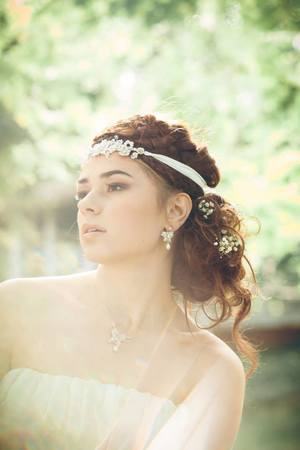 Dia Earrings & Necklace, Eirene Headband