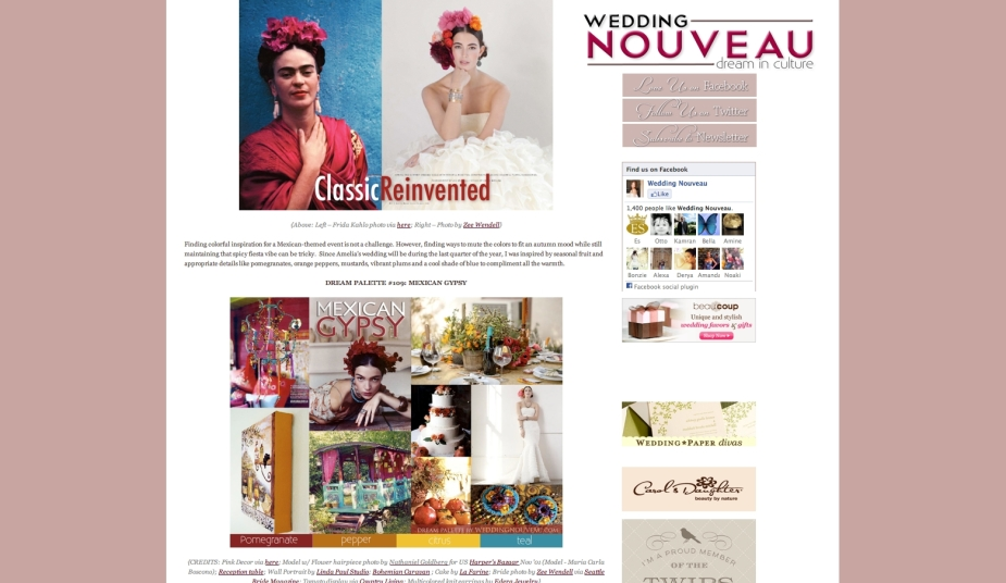 """Frida"" Earrings are featured on this Mexican Gypsy inspiration board on   Wedding Nouveau   (bottom right)."