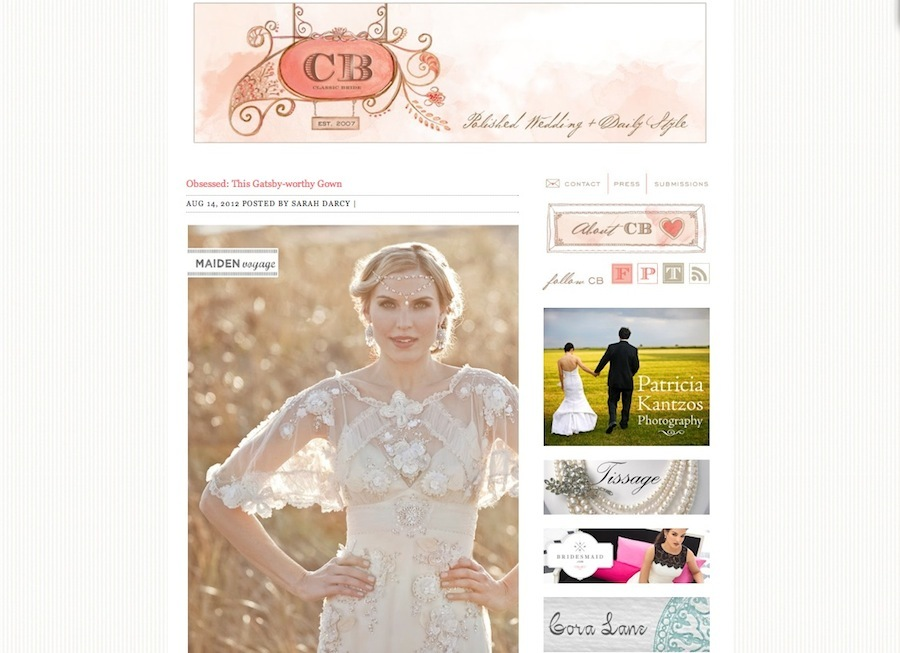 """Athenais"" Earrings featured on the   Classic Bride   wedding blog."