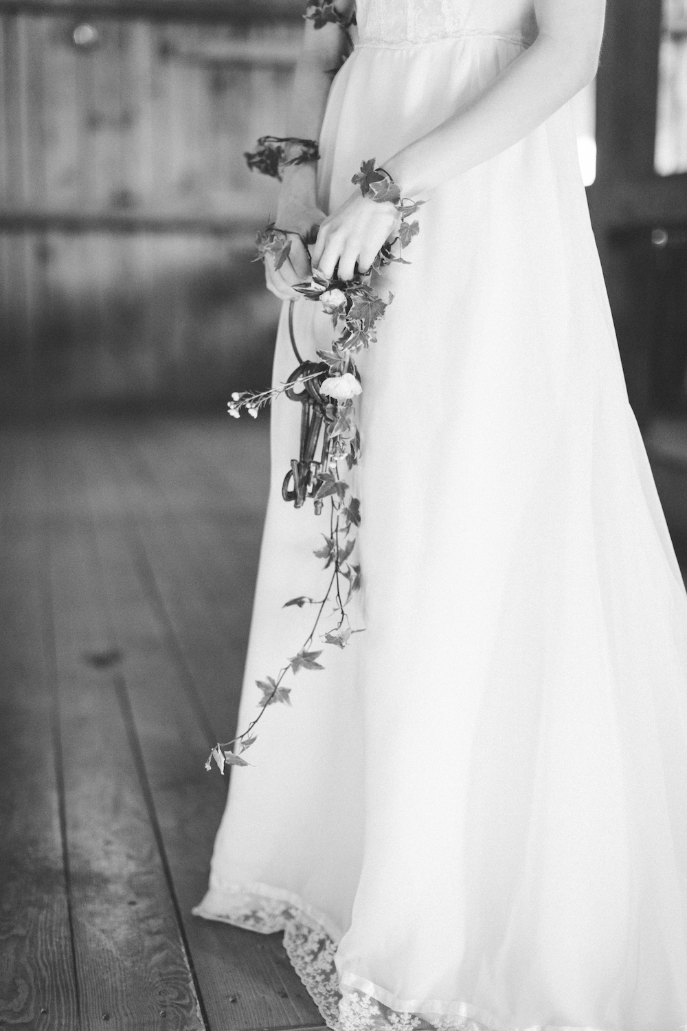 nontraditional wedding bouquet with keys and ivy