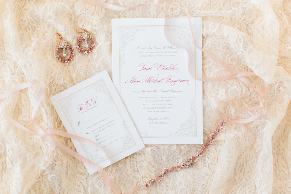 rose gold wedding invitations and jewelry
