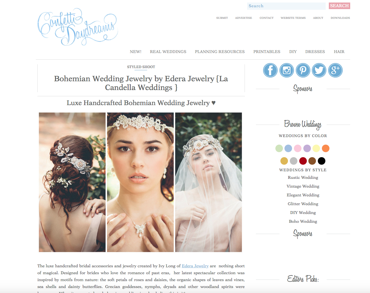 The 2015  Woodland Goddess  Collection, featured on  Confetti Daydreams .