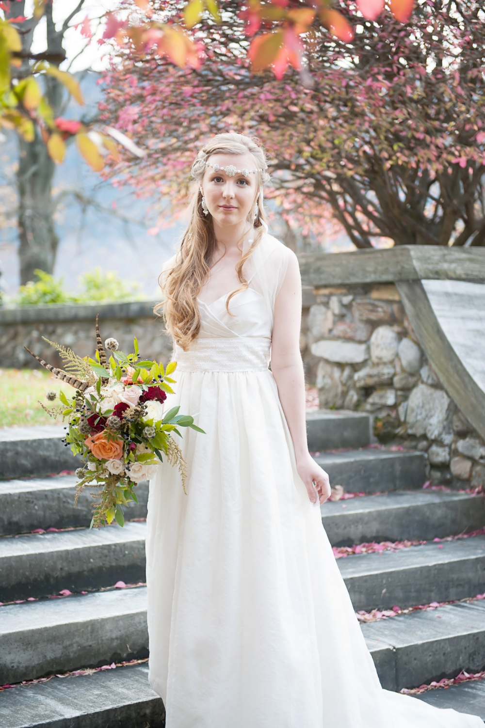 Photo: Carrie Ann Photography | Gown: Celia Grace | Hair & Makeup: Studio 210 Salon | Flowers: Nancy Bishop | Location: Wilburton Inn, Manchester VT