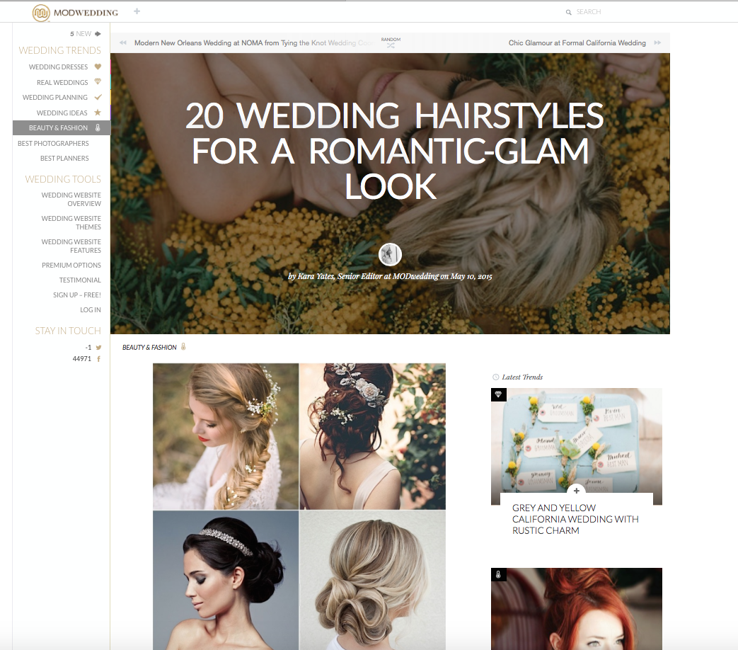 "The ""Aphrodite"" Hair Vine, featured on  Mod Wedding ."