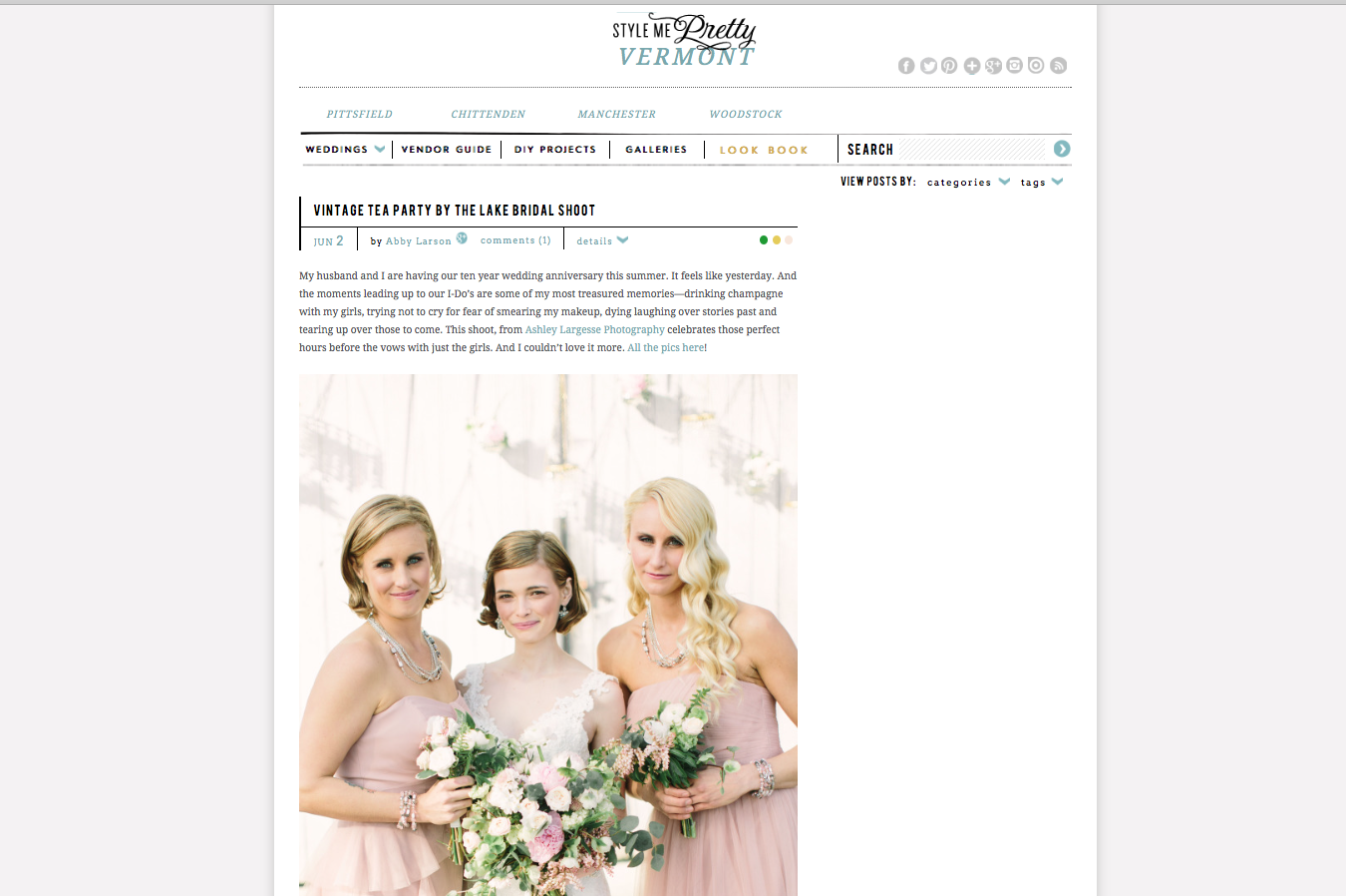 Edera designs featured on  Style Me Pretty .