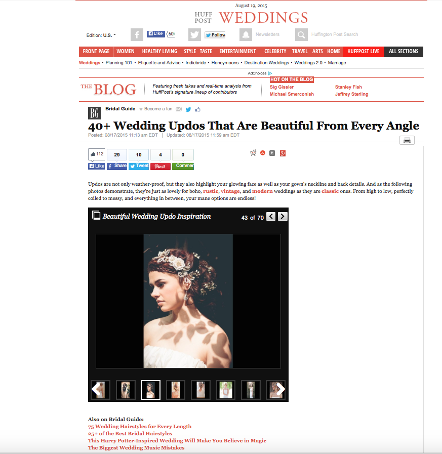 "The ""Aphrodite"" Hair Vine, featured on  Huffington Post Weddings ."