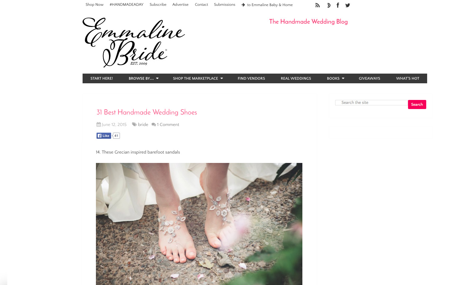 """Theia"" barefoot sandals, featured in an article on handmade wedding shoes on  Emmaline Bride ."