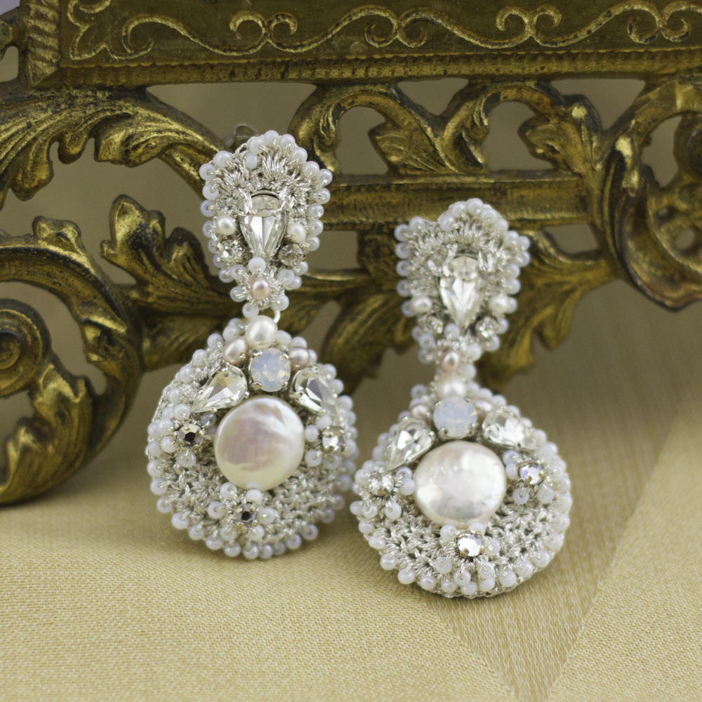 silver statement wedding earrings with pink pearls