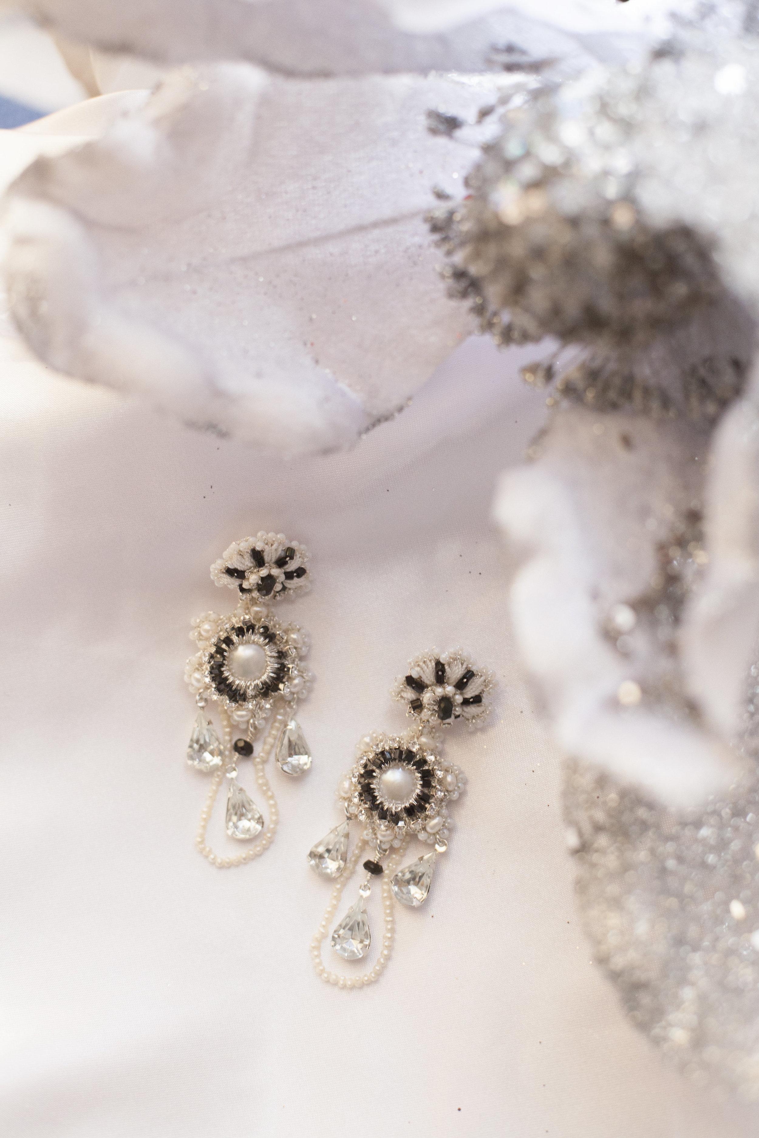 Black and white bridal chandelier earrings