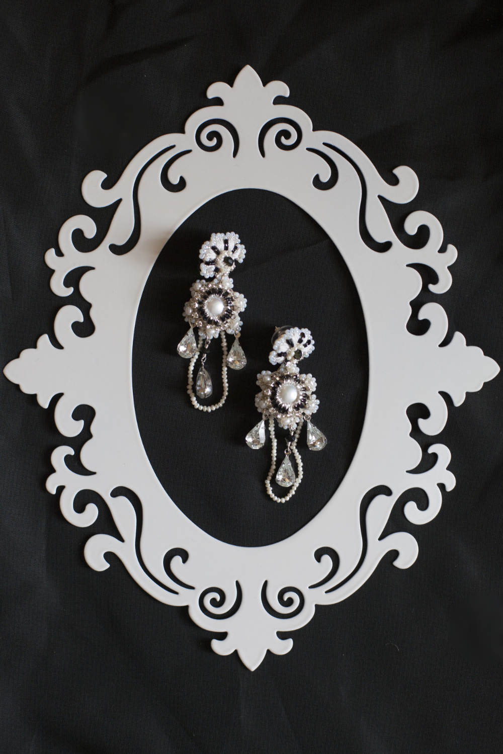 Handmade lace wedding earrings with pearls & crystals