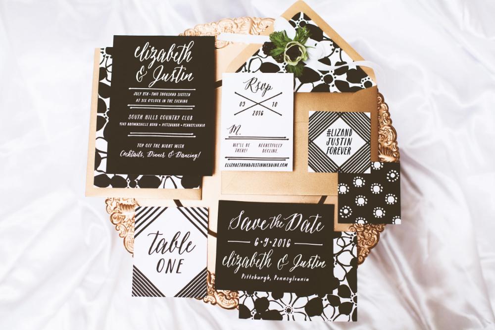 black, white, gold wedding stationery