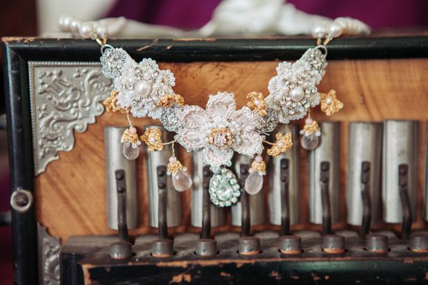 handmade lace bridal necklace with pink roses