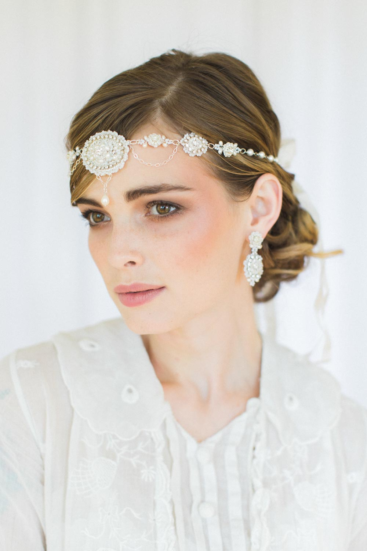 Amandine Earrings & Forehead Band