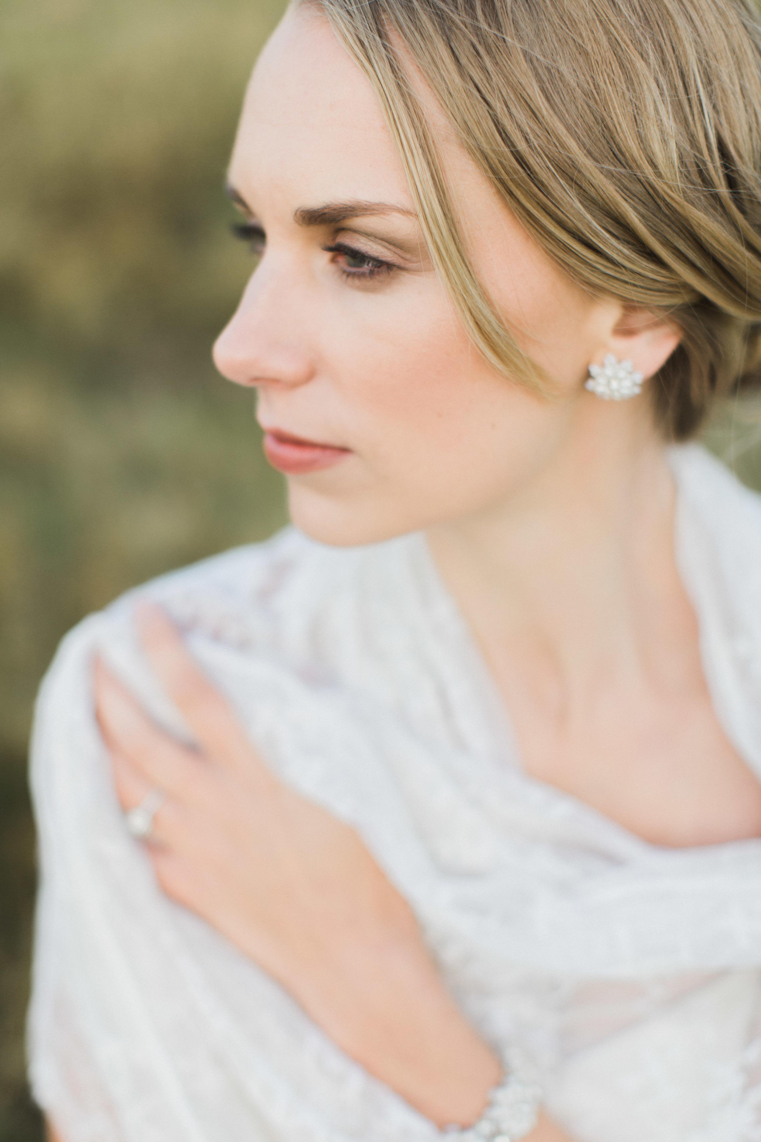 pearl silver flower bridal post earrings