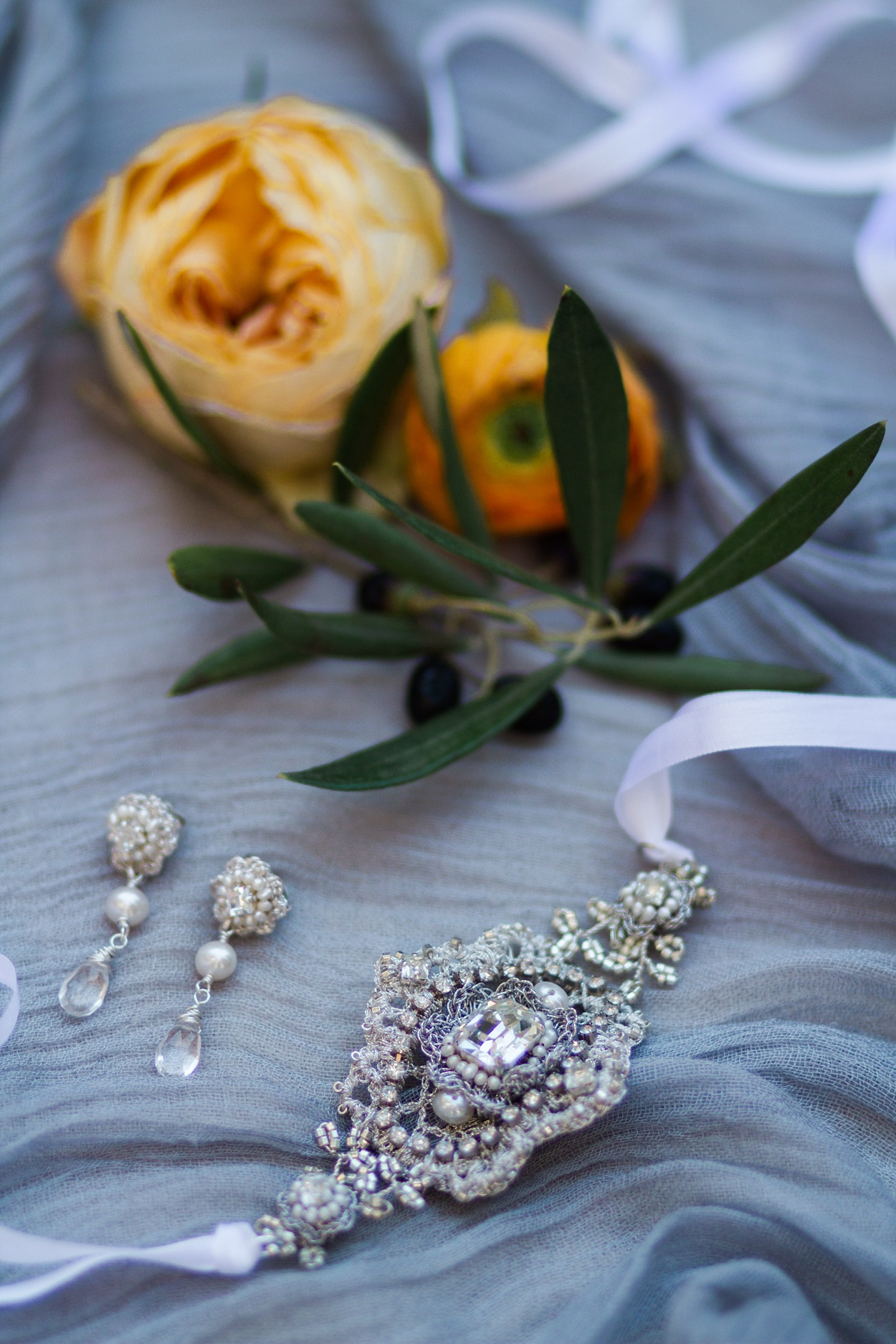 Vintage inspired handcrafted lace bridal bracelet and earrings