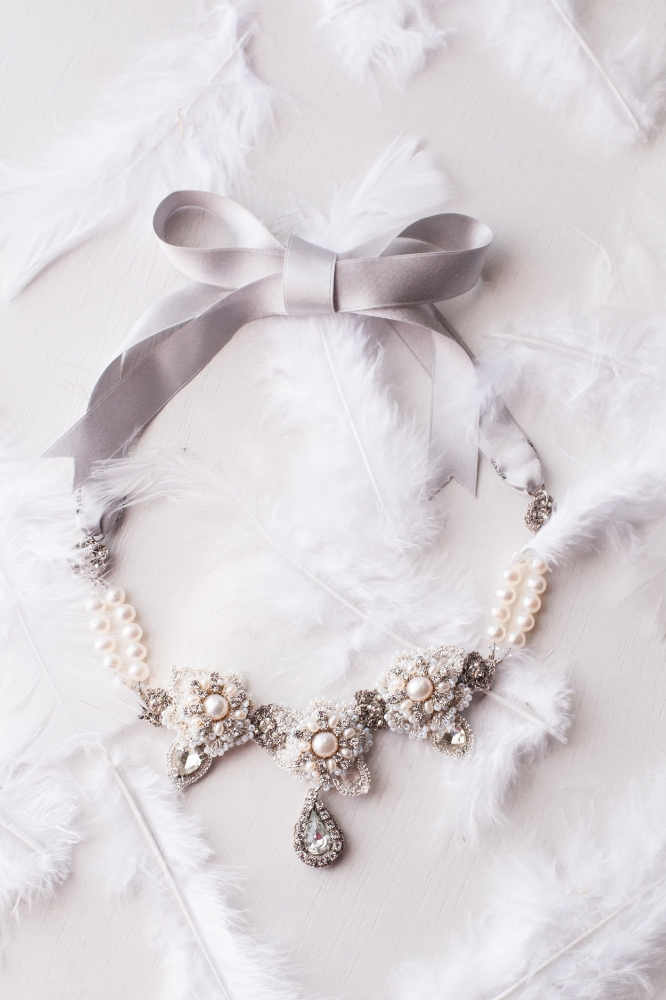 Silver Pearl, Lace, Crystal Bridal Statement Necklace