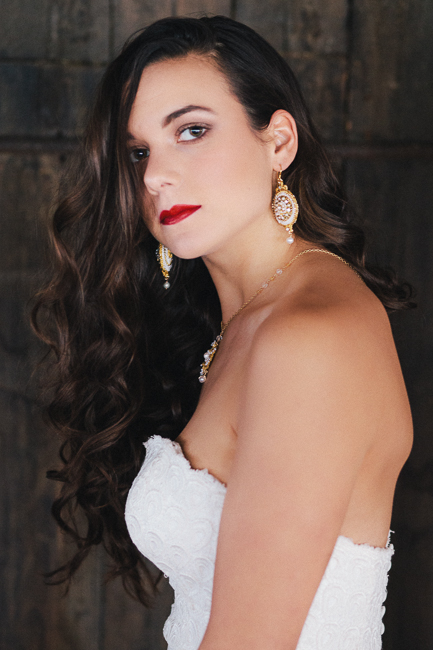 handmade gold lace bridal chandelier earrings and necklace