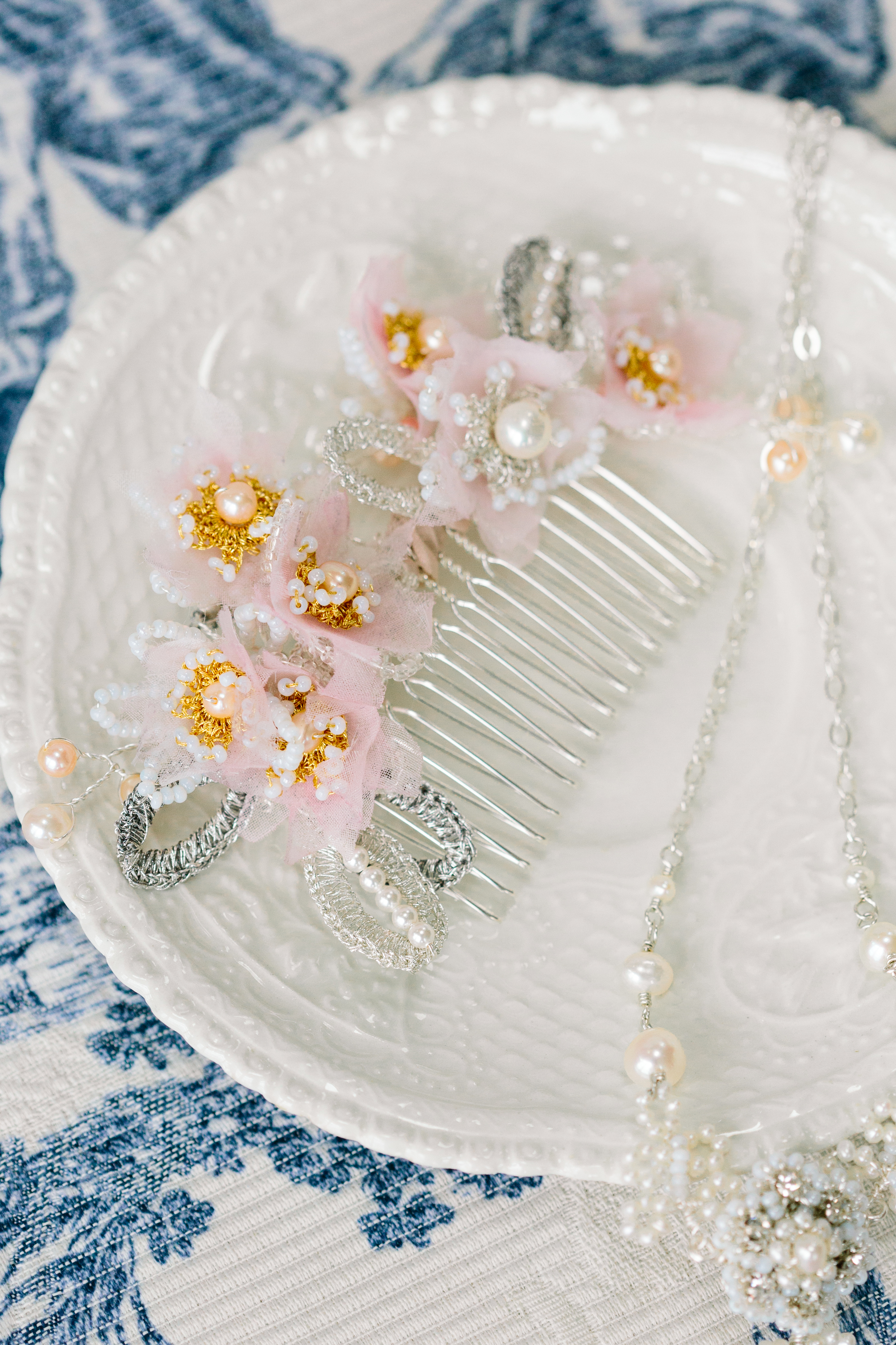 Blush Pink & Peach Apple Blossom Bridal Hair Comb