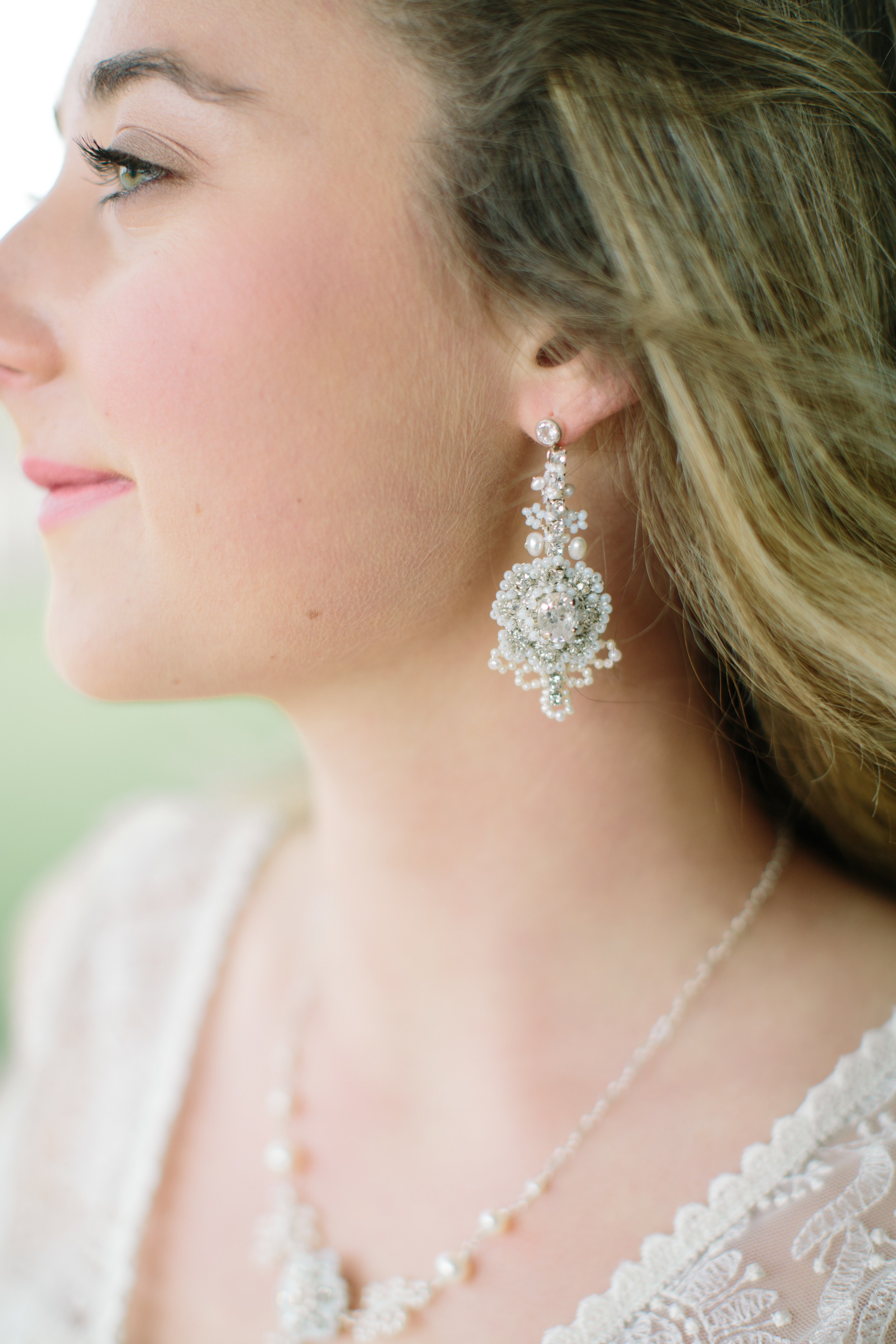 Crystal & Silver Lace Bridal Statement Earrings   Handcrafted Wedding Jewelry