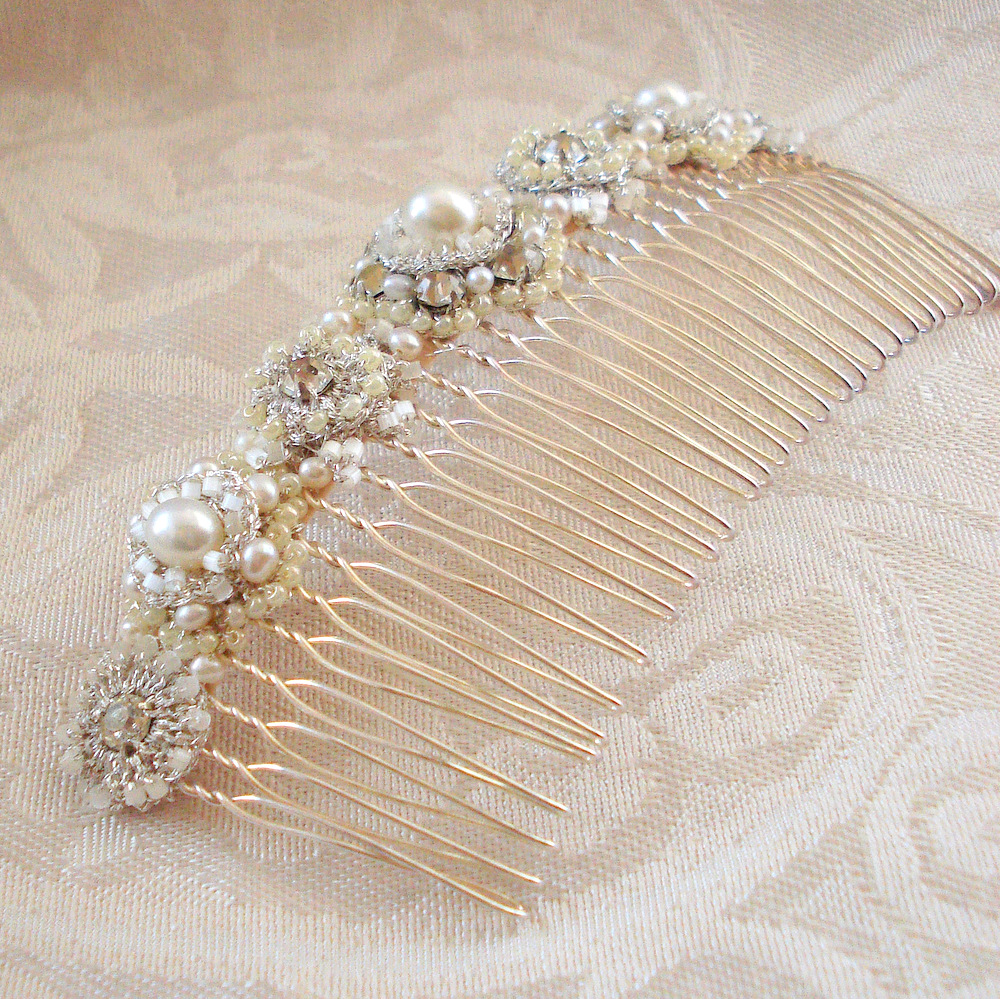 Large Bridal Hair Comb with Pearls, Crystals, Handmade Cream and Silver Lace