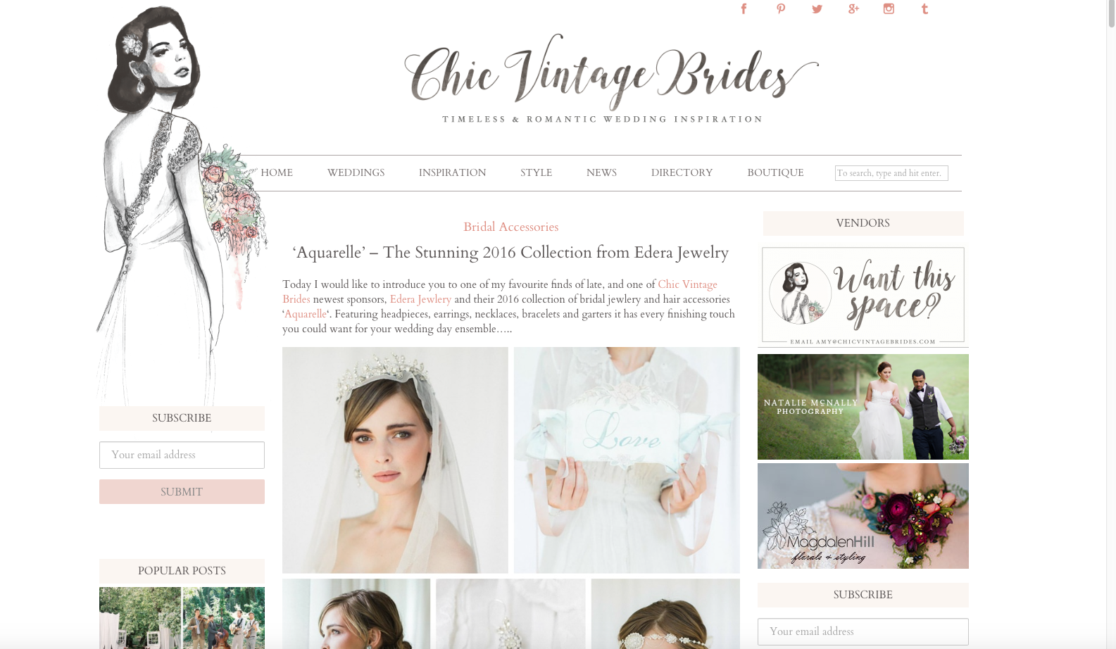 Edera Jewelry Featured on Chic Vintage Brides