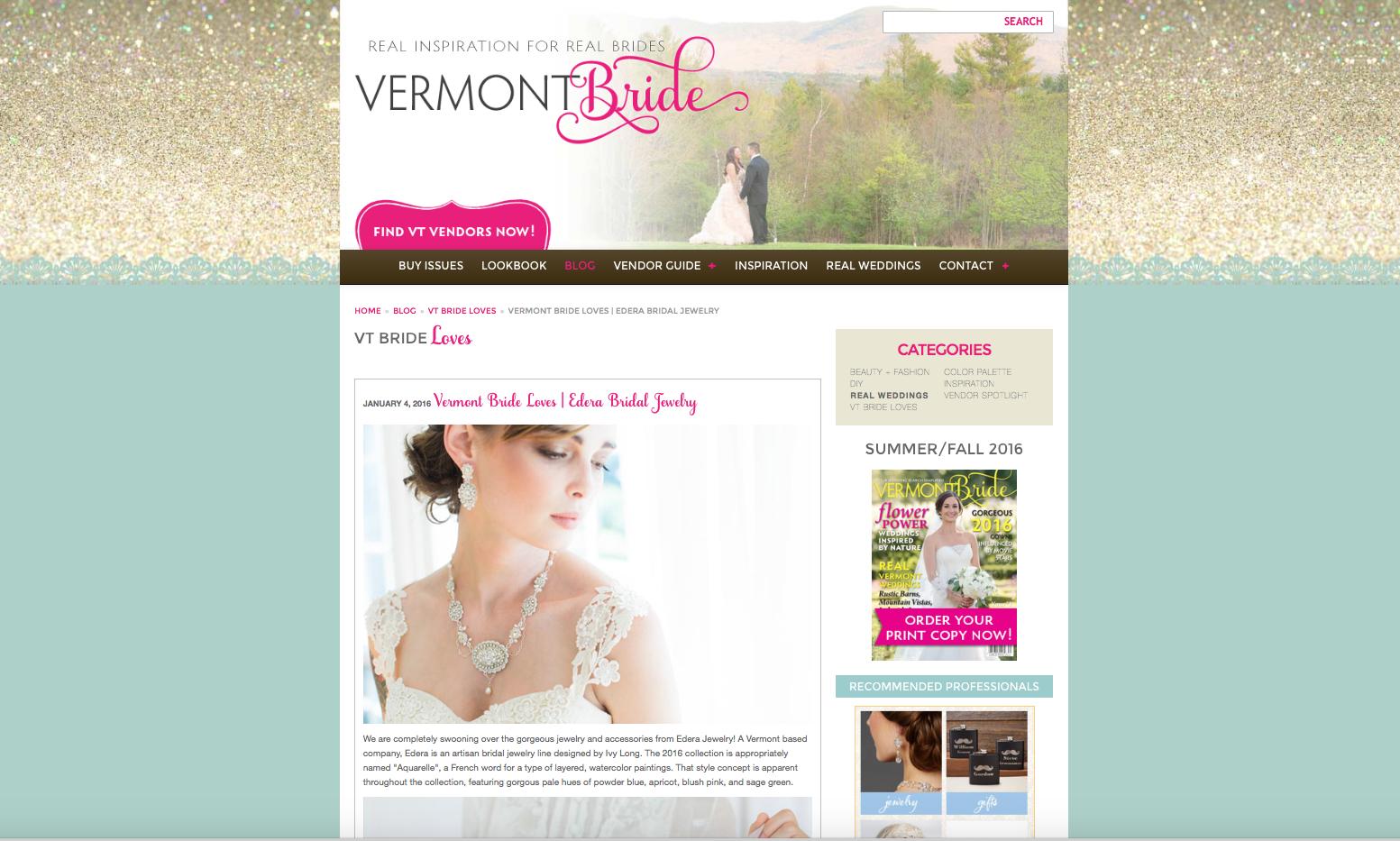 Featured on Vermont Brides Magazine