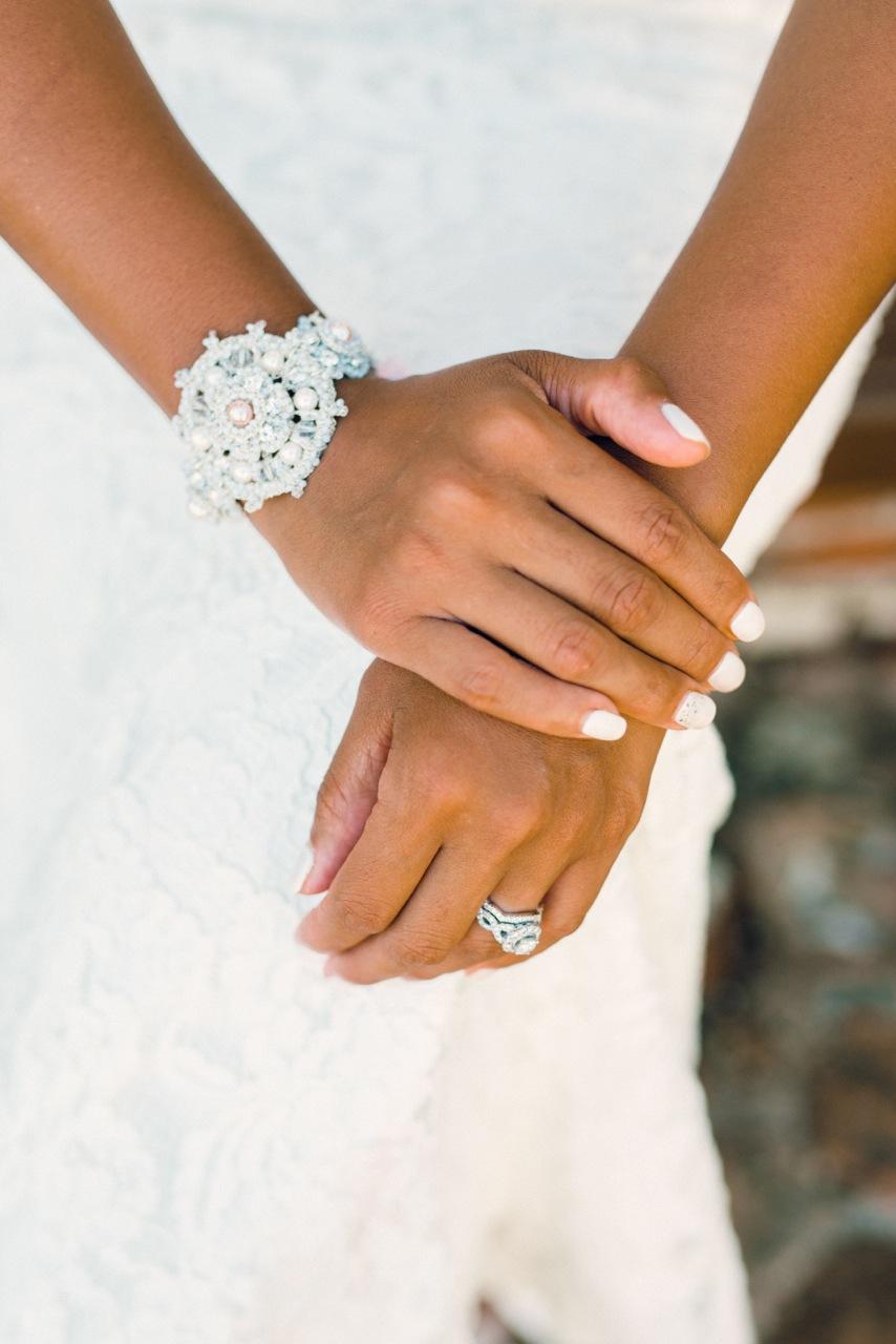 Vintage Inspired Bridal Bracelet with Pink Pearls