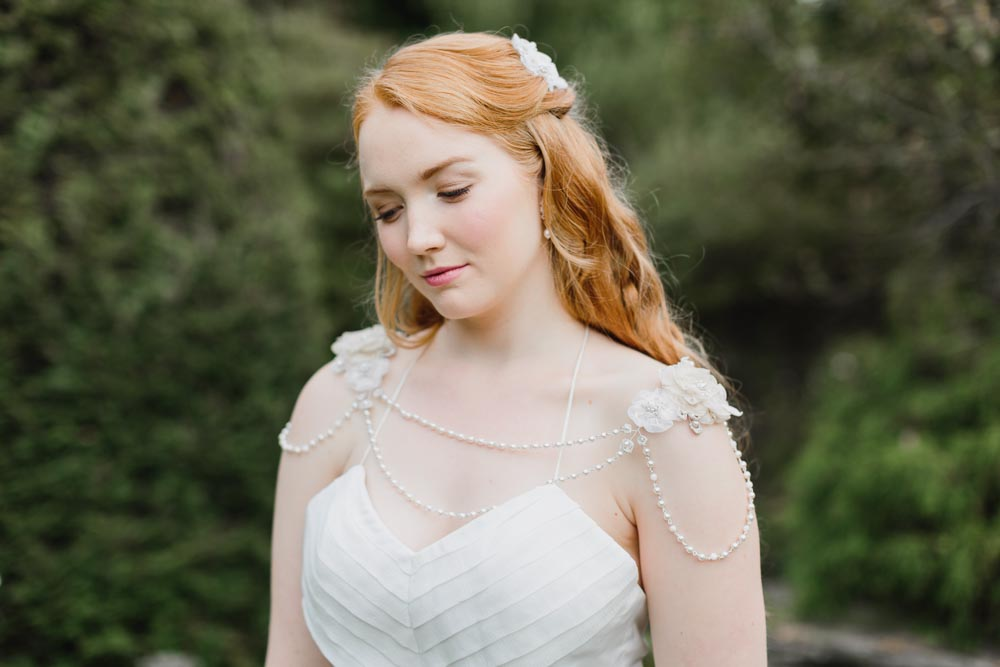 Tea Rose Shoulder Necklace & Myrtle Headpiece