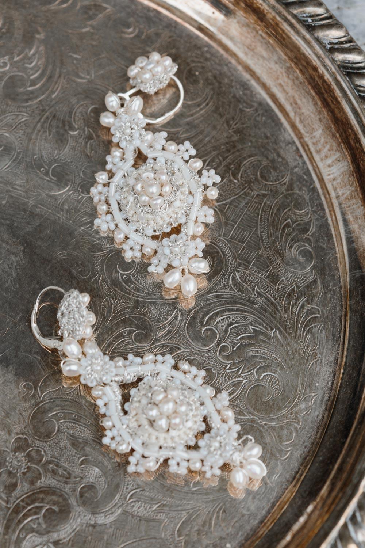 Primrose Earrings | Lace Wedding Earrings worn with Galia Lahav Gown