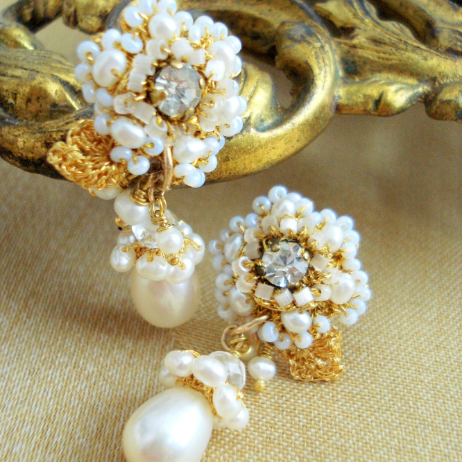 Gold-pearl-drop-bridal-earrings-floral-lace