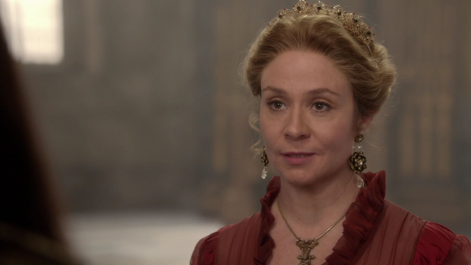 "Actress Megan Follows as Catherine de Medici wearing a pair of ""Morgaine"" Earrings."