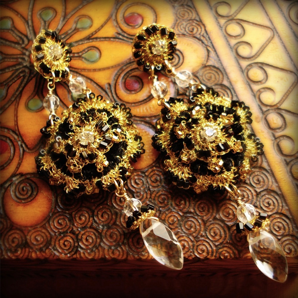 As Seen on Reign: Gold Lace, Black Velvet Chandelier Earrings with Quartz Crystal Briolettes